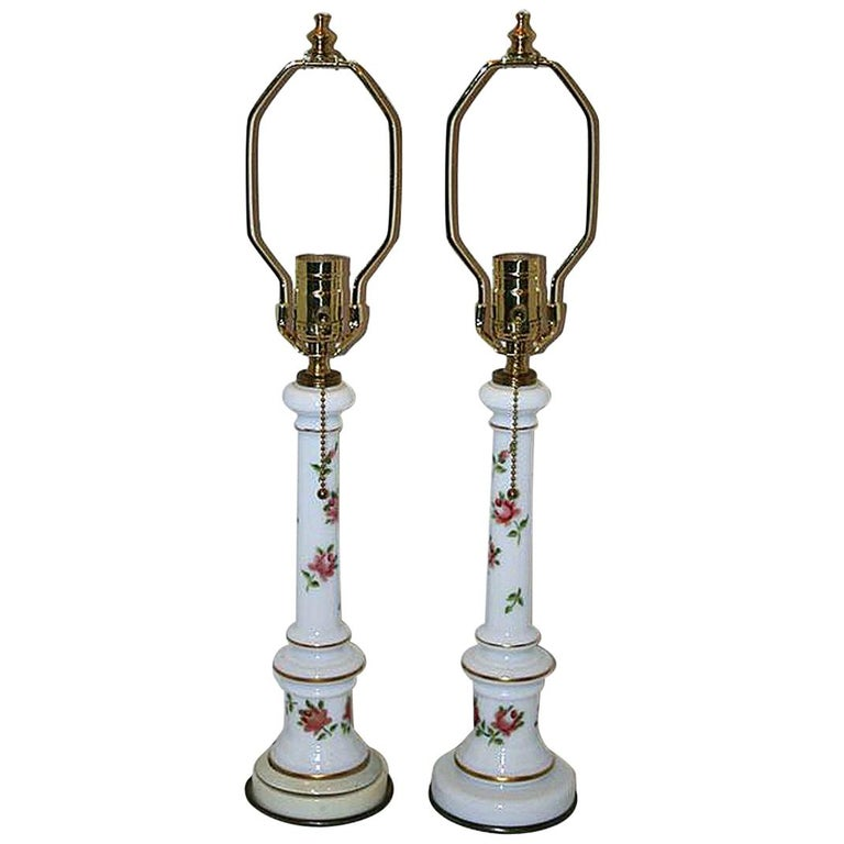 Pair of French Opaline Glass Table Lamps