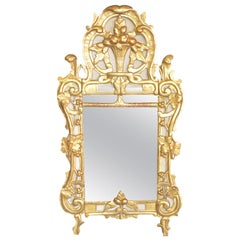 Rectangular Louis XV Gold Mirror in Wood and French Chalk, 1780