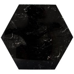 Hexagonal Black Marble Plate with Cork