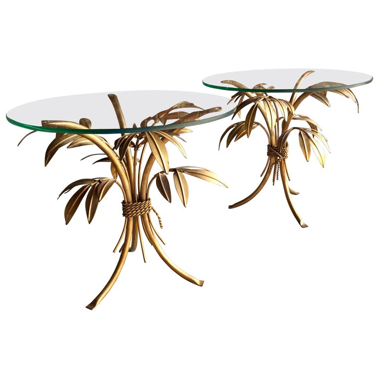 Stunning Hans Kögl Gold Palm Tree Side Tables Pair Hollywood Regency 1960s For