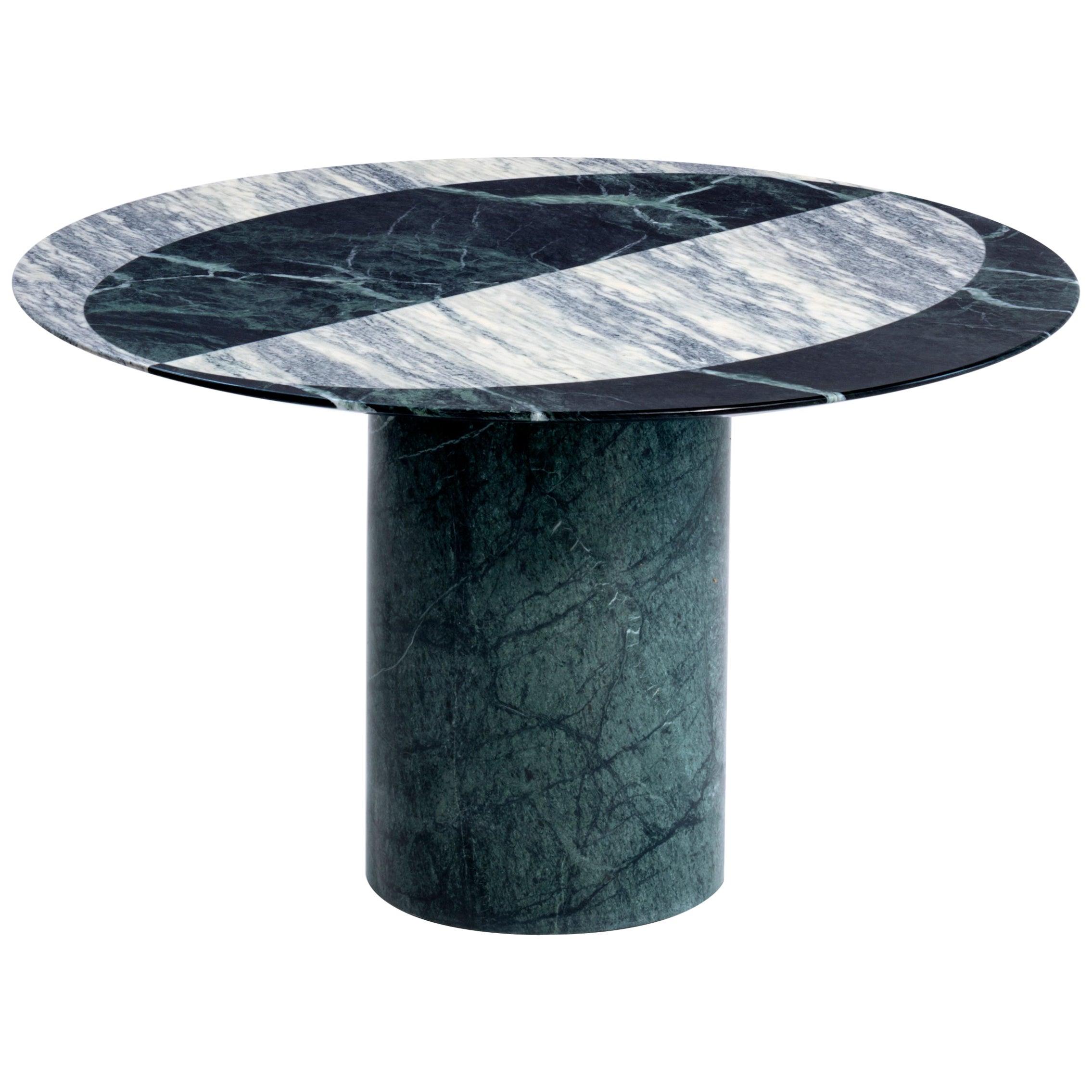 Proiezioni Side Table in Verde Alpi & Cipollino Marble by Elisa Ossino