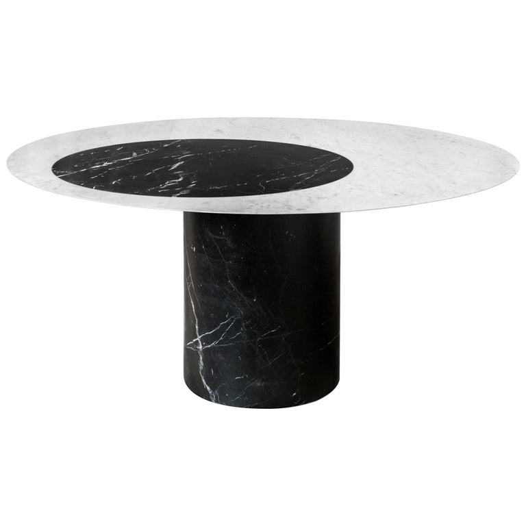 Proiezioni Dining Table in Bianco Carrara & Nero Marquina Marble by Elisa Ossino