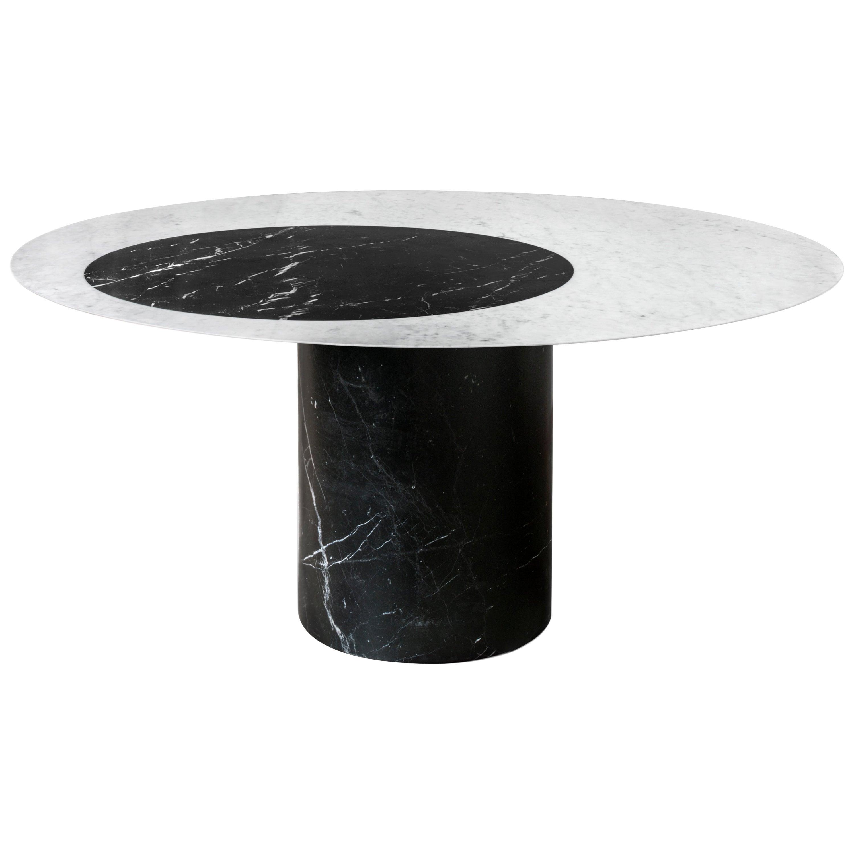 Proiezioni Dining Table in Bianco Carrara & Nero Marquina Marble by Elisa Ossino