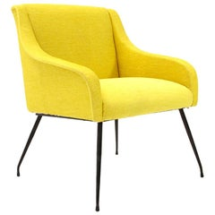 Midcentury Italian Yellow Velvet Armchair, 1960s