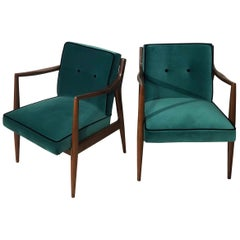 Mahogany and Green Velvet Armchairs, Design 1960, France