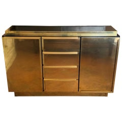 Late 20th Century Italian Black Lacquered Wood and Brass Credenza with Drawers