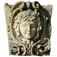 Stone Mascaron Representing a Woman, 19th Century