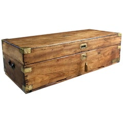 Large Antique Campaign Travel Trunk Chest Coffer Teak Victorian, 19th Century