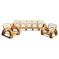 Midcentury Rattan Sectional Sofa and Armchairs