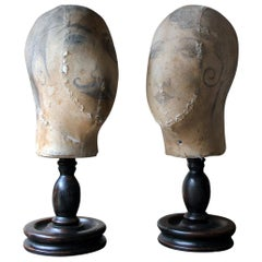 Decorative Pair of Mannequin Shop Display Heads as a Flapper & Dandy