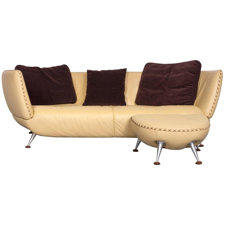 De Sede Ds 102 Designer Leather Sofa Beige Three-Seat Couch with Footstool