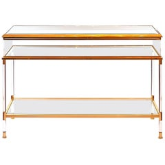 Midcentury French Brass and Glass Console - Showcase