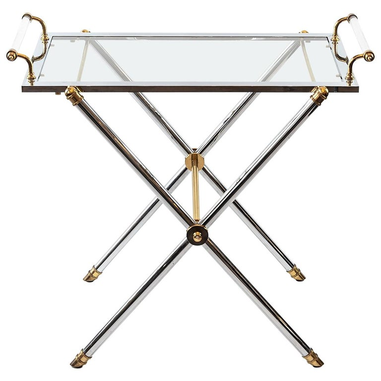 Midcentury French Brass and Chrome Serving Table with Removable Tray