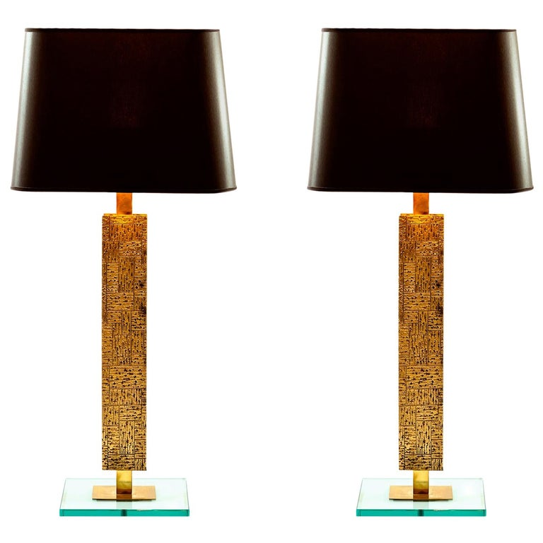 Pair of Contemporary Italian Table Lamps in Brass and Solid Glass
