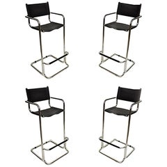 Mart Stam Black Leather & Chrome Italian Mid-Century Modern Barstools Set of 4