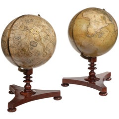 Rare Pair of Victorian Table Globes by Newton