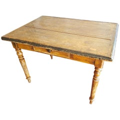 Late 19th Century French Pine Wood Farmers Table