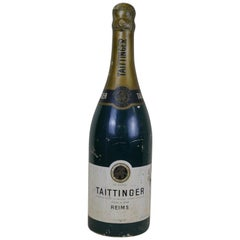 1950s French Huge Adv Replica of Taittinger Champagne Bottle in Fiberglass