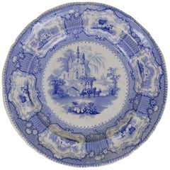 1840s English Blue and White Transfer Earthenware Arcadia Pattern Dinner Plate