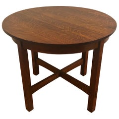 Oak Center or Dining Table by Stickley, USA, circa 1910