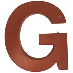1950s Orange Metal Vintage French Capital Letter G Sign