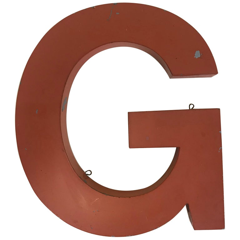 1950s Orange Metal Vintage French Capital Letter G Sign For Sale