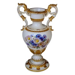 Meissen Amphora Vase Flowers D 153 by Leuteritz, circa 1870