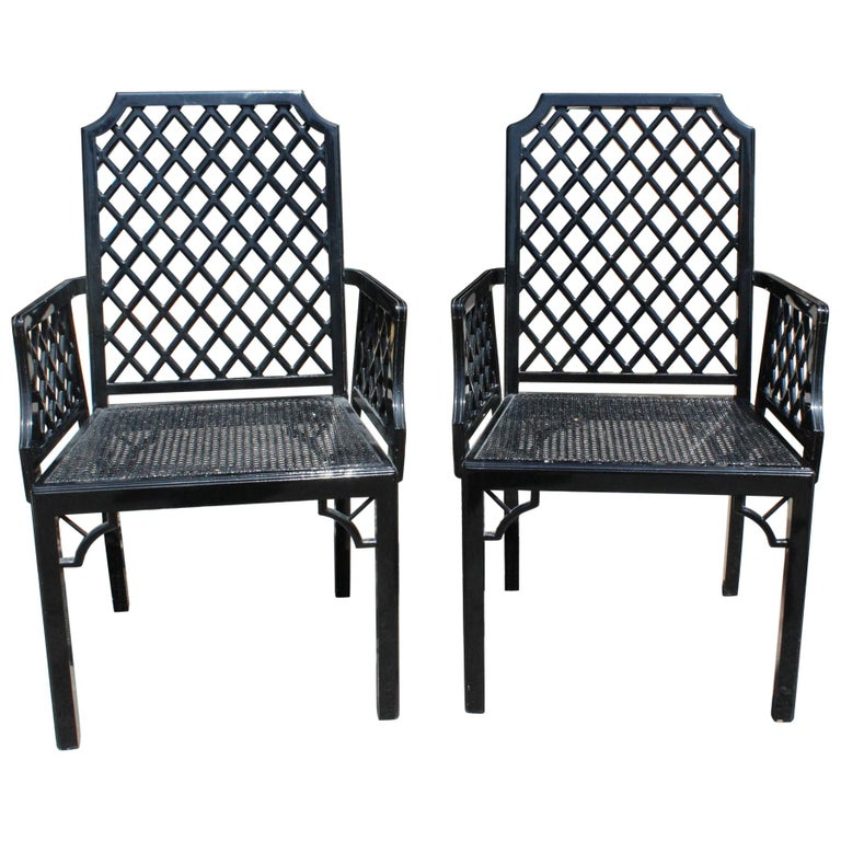1980s Pair of English Black Lacquered Armchairs with Grid Pattern Backrest