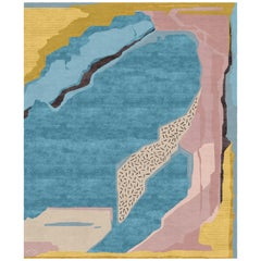 I.I Contemporary Art Hand-Knotted Wool and Silk 9x12 Rug by Angelina Askeri