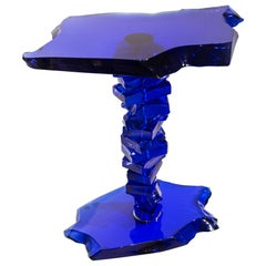 Danny Lane Blue Caramel Glass Side Table