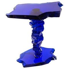 Danny Lane Blue Caramel Glass Side Table