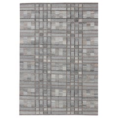 Geometric Stripe Block Modern Scandinavian Flat-Weave Design Rug in Gray Tones