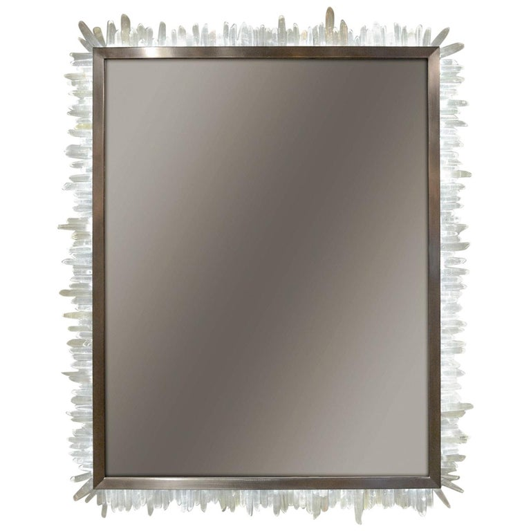 Framed Brazilian Hand-Cut Rock Crystal and LED Lit Mirror