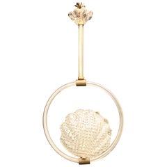 Wonderful Mid-Century Modern Shell Art Glass Pendent Cylinder Chandelier Lantern
