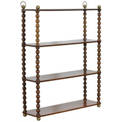 French Louis Philippe Period Turned Walnut and Brass Hanging Etagere, circa 1840