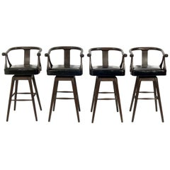 Set of Four Asian Style Midcentury Bar Stools