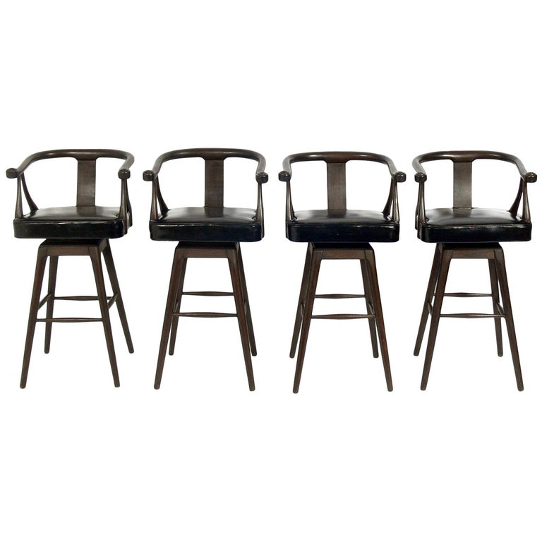 Set of Four Asian Style Midcentury Bar Stools For Sale