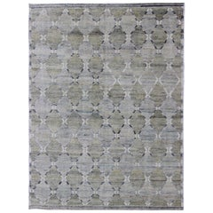 Geometric Latticework Pattern Modern Scandinavian Piled Rug in Shades of Gray