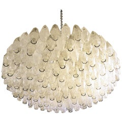 Large Venini Polyhedron Clear/Beige Murano Chandelier, Mid-Century Modern, 1970s