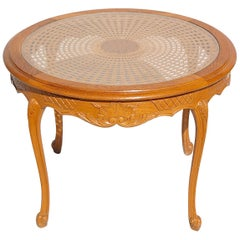 Circular Coffee Table with Cane and Glass Top, 1950s, France