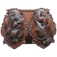 Pair of 19th Century Walnut Black Forest Wall Plaques