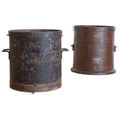 Matched Pair of French Patinated and Steel Grain Measures, Demi-Hecto Litre