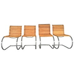Rare Set of Four Mies van der Rohe Rattand and Chrome MR10 Chairs