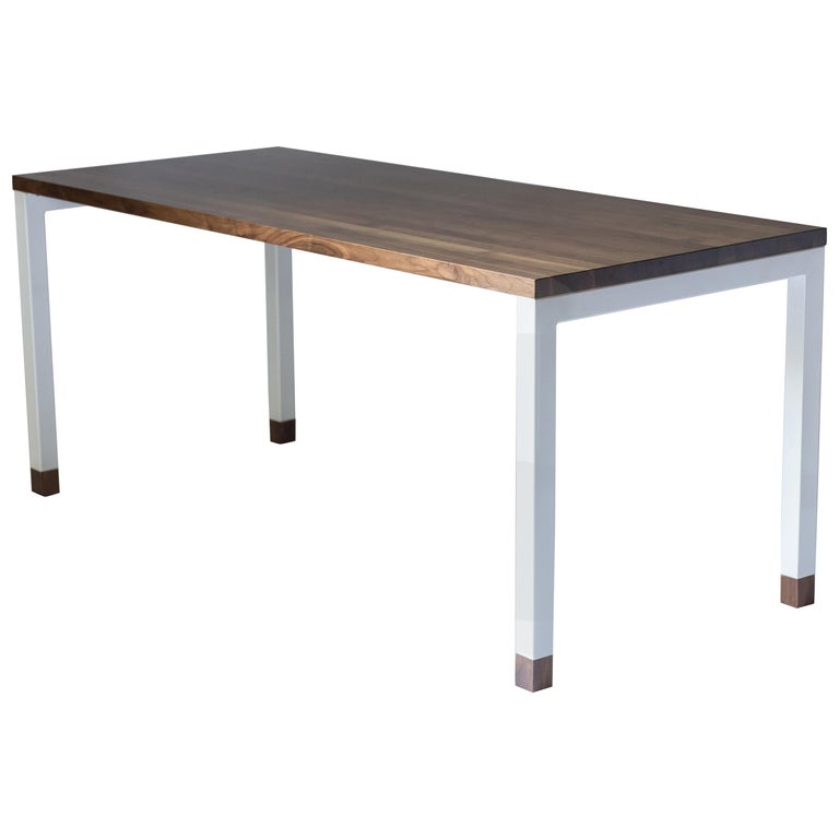 Dobrin, Modern Walnut and Powder Coated Steel Desk or Dining Table