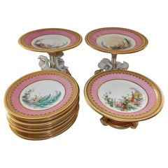 19th Century English Royal Worcester 11 Piece Hand-Painted Dessert Service Set