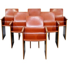 Mid-Century Modern Wood Leather Armchairs Tobia Scarpa for B&B Italia Attributed