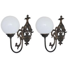 Pair of Midcentury Brass Wall Sconce with Opaline Glass Globe