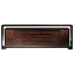 Duplo U Contemporary Sideboard in Composed Ebony by Luísa Peixoto