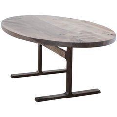 Oval Bronze Shaker Table in Oxidized Maple and Blackened Bronze