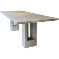 Carlo Scarpa and Marcel Breuer Delfi Marble Table, circa 1970, Italy